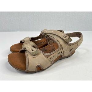 Aetrex Beige Sand Leather Comfort Slip On Sandals